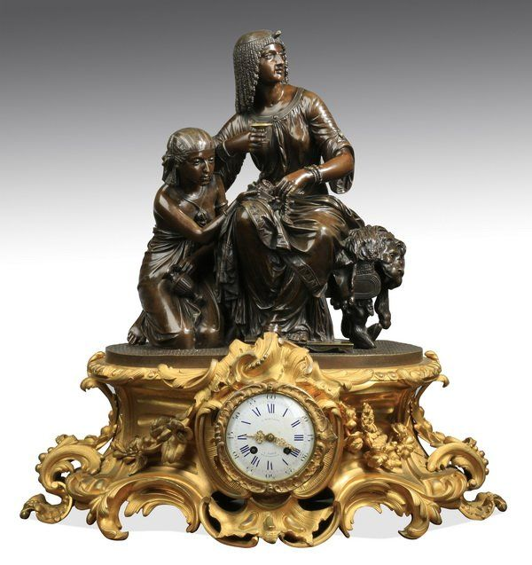 Monumental 19th c. French bronze mantel clock