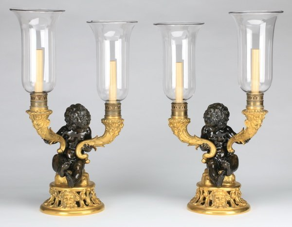 19th c.gilt, patinated bronze candleholders