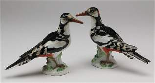 """(2) Meissen porcelain birds, marked, 8""""h"""