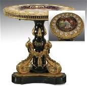 19th c bronze table wporcelain plaques