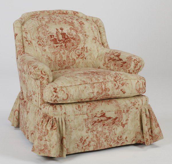 Custom designed armchair in toile fabric