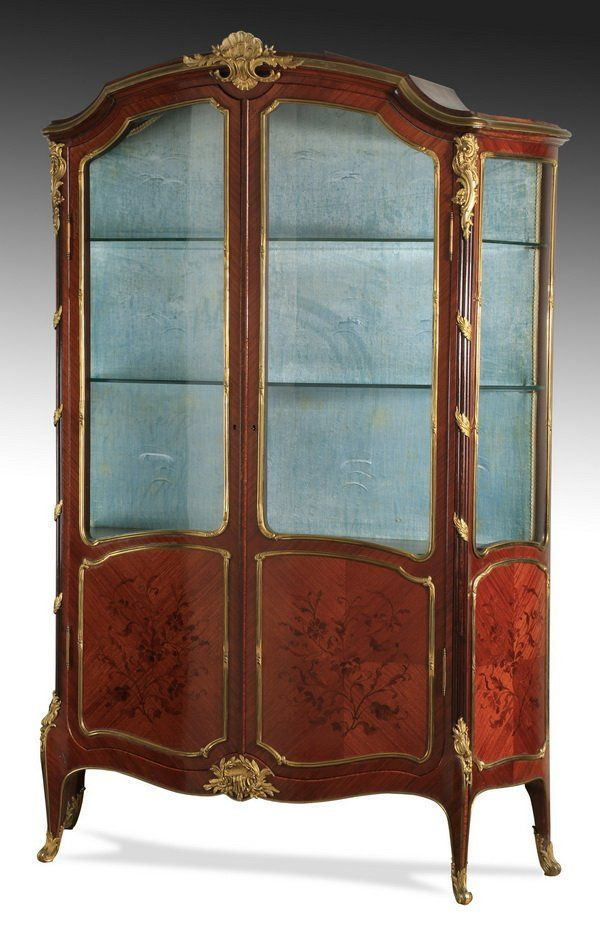 19th c. French inlaid and lighted vitrine
