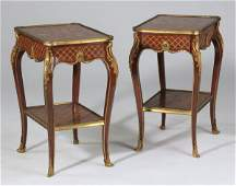 (2) 19th c. French inlaid side tables