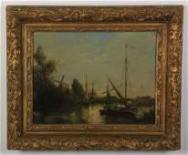Continental O/c Dutch canal scene, 19th c.