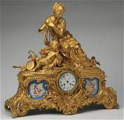 "19th c. French gilt bronze mantel clock, 24""h"