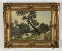 Henri Joseph Harpignies signed O/c landscape