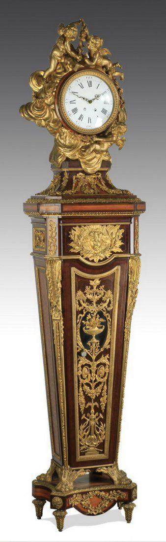 Louis XV style tall case clock, with ormolu