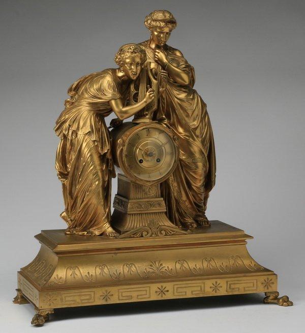 19th c. Continental gilt bronze figural clock