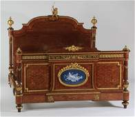 Superb 19th c. French inlaid, bronze mtd bed