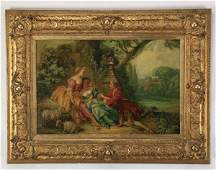 19th c. Continental O/c courting scene