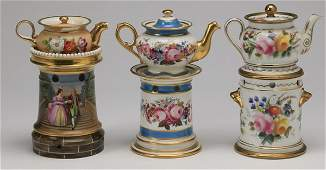 (3) Continental teapots on warming stands