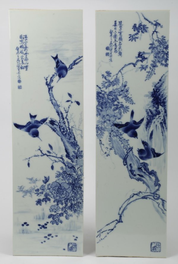"""(2) Chinese porcelain plaques, 31""""h"""