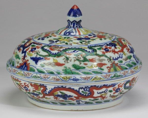 "Chinese wucai porcelain lidded bowl, 12""w"
