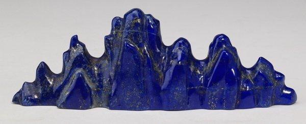"Chinese lapis lazuli brush rest, 6.5"" long"