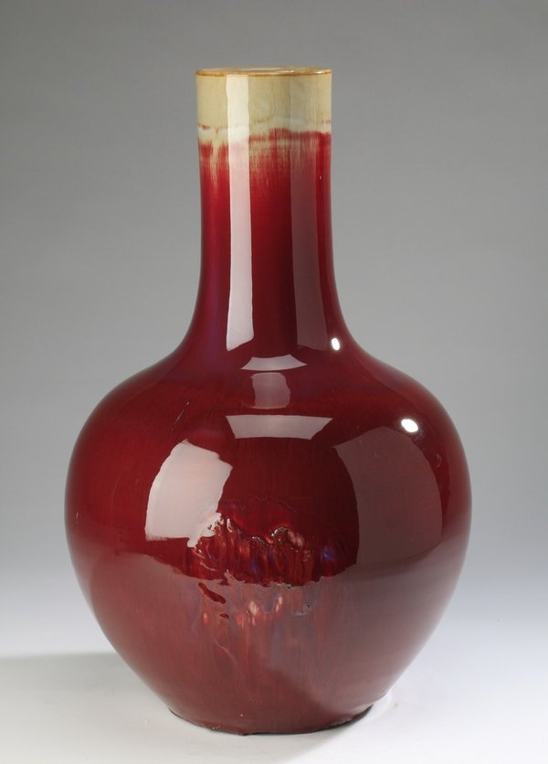 """Large Chinese bottle neck vase, 19""""h"""