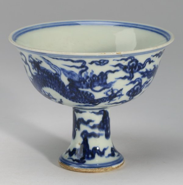 Chinese Ming-style wine cup, ,Xuande mark