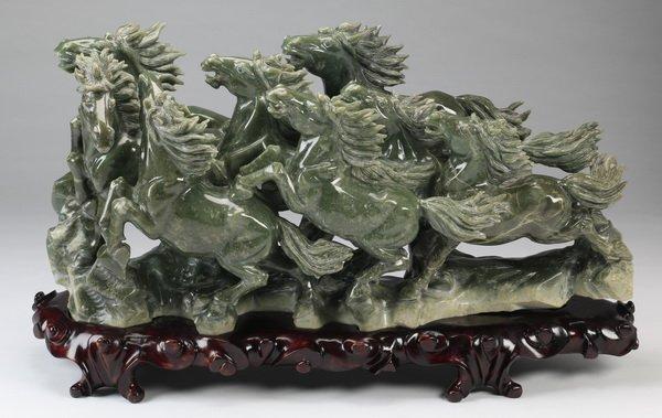 "Jade sculpture 'Eight Horses of King Mu', 35"""