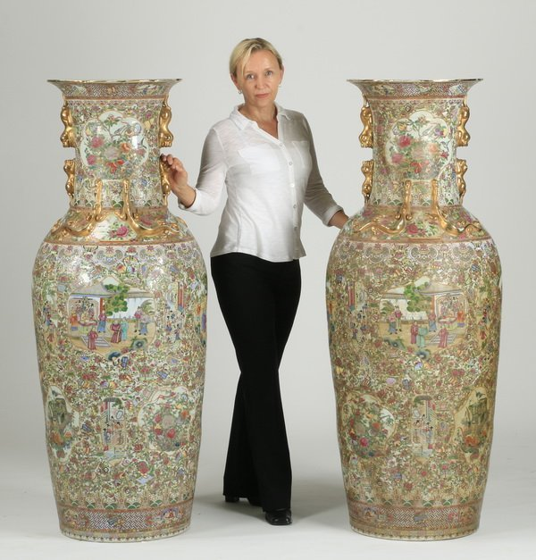 (2) Monumental Chinese famille rose vases