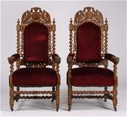 2 19th c French carved oak armchairs