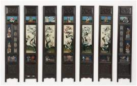 7 Chinese hand painted wall plaques 41h