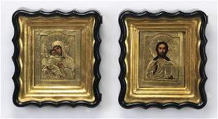 2 Russian icons 19th c in oklads  kiots