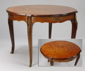 French Marquetry Inlaid Center Table