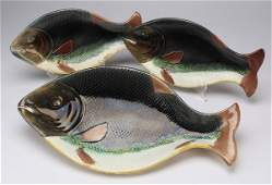 3 Majolica figural fish serving pieces