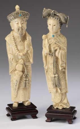 (2) Chinese Carvings, Emperor And Empress