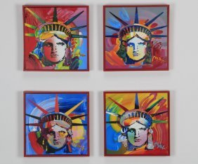 (4) Peter Max 'liberty Head' Each Signed