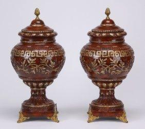 (2) 20th C. Parcel Gilt Lidded Urns