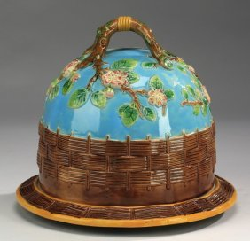 English Majolica Cheese Dome W/ Twig Handle