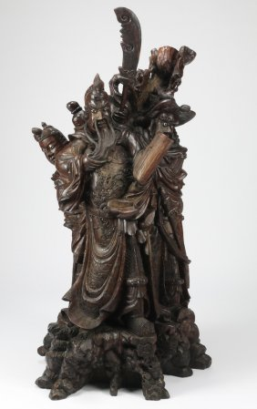 """Massive Chinese Carving Of Guandi, 60""""h"""