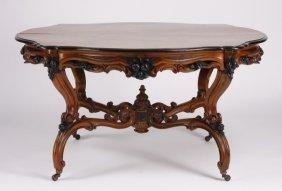 19th C. German Rococo Style Walnut Table