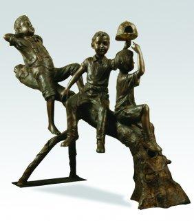 Bronze Figural Sculpture, 3 Playful Boys