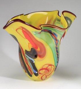 American Art Glass Vase, Signed, Rollin Karg