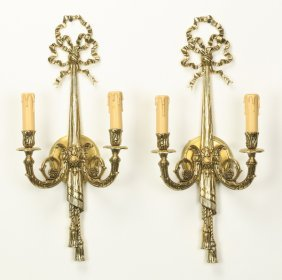 "(2) Neoclassical Style Sconces, 24""h"