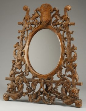 French Rococo Style Carved Vanity Mirror