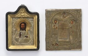 (2) 19th C. Russian Icons In Oklads