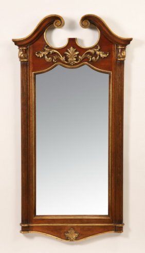 "54""h Carved And Parcel Gilt Mahogany Mirror"