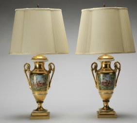 (2) 19th C. Continental Urn Table Lamps
