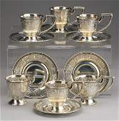 6 Sterling silver demitasse cups saucers