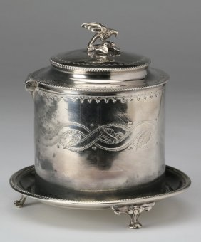 19th C. English Silverplate Biscuit Jar