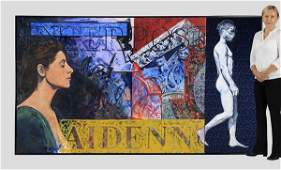 """Artist signed mixed media work, 60""""h x 108""""w"""