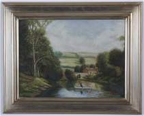 Mid 20th c. oil on canvas landscape, signed