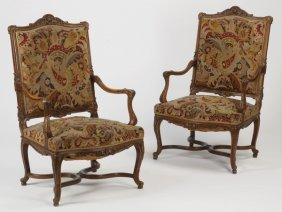 (2) 19th C. French Provincial Style Armchairs