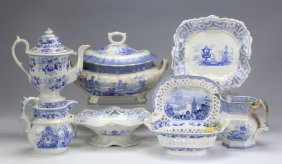 8-pieces 19th C. Blue And White Transferware