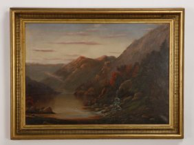 19th C. Oil On Canvas Hudson River Landscape