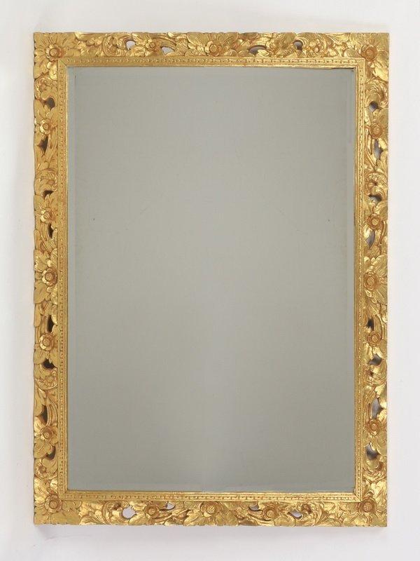 Italian carved gilt wood beveled glass mirror
