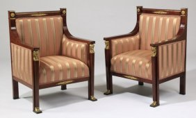 (2) 19th C. English Regency Style Armchairs