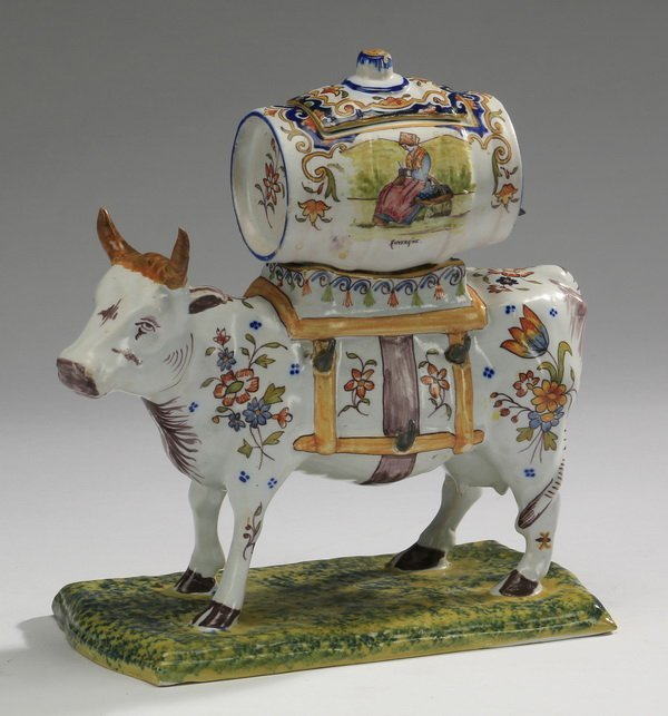 19th C French Faience Cow Form Decanter